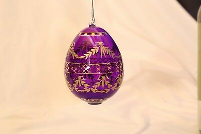 Beautiful Purple Clear Egg Shaped Christmas Ornament with Etched Gold Trim