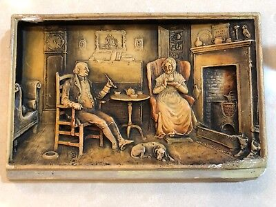 "Rare Arthur Osborne Ivorex ""the Old Folks At Home"" Wall Plaque England"