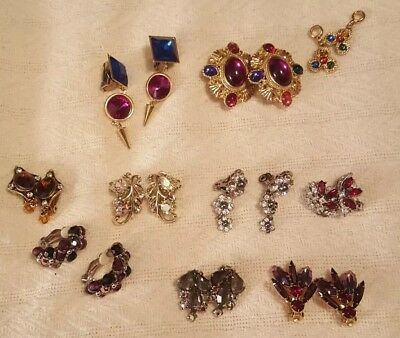 Huge Lot Of Vintage And Antique Crystal Rhinestone & Multi color Earrings Clips