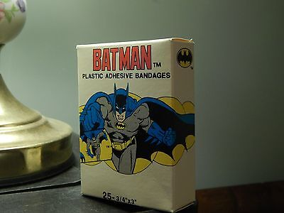(1989) Batman - Plastic Adhesive Bandages [Quantasia] *NOS* Full Box 25 Strips