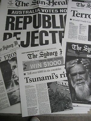 9 SYDNEY MORNING HERALD Front Page HEADLINE POSTERS Australian Historical Events