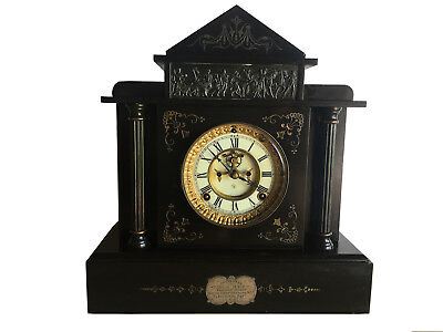 Beautiful Antique Ansonia Black Marble American Mantle Clock - El Dara