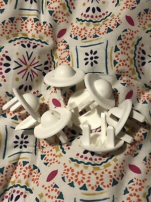 Bundle Of 8 White Plastic Safety Socket Covers Baby Proof