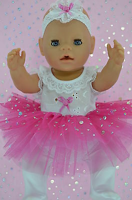 "Play n Wear Doll Clothes For 17"" Baby Born HOT PINK SEQUIN TU TU~TIGHTS~HEADBAND"
