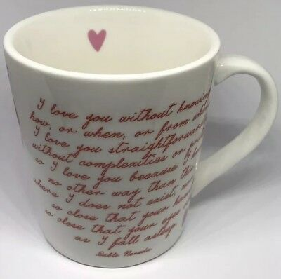 Heart Coffee Cup With A Pablo Neruda Love Poem