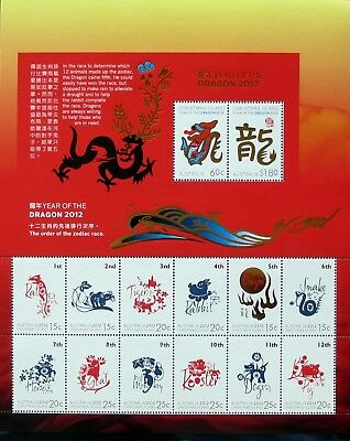 Christmas Island 2012 Lunar Year Of The Dragon Complete Sheet Of 14 Stamps