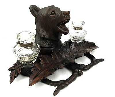 19th Century Black Forest Double Inkwell - Bear - Victorian Wooden Antique RARE