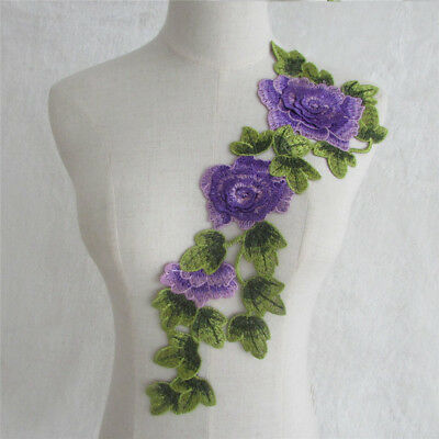 NEW Purple Flower Guipure Lace Collar - Embroidered Applique Trim YL717