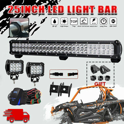25INCH 162W CREE LED Work Light Bar Spot Flood Combo Offroad for Polaris RZR