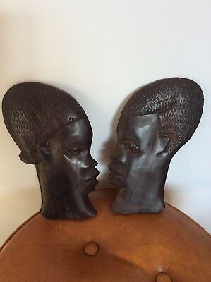 Superb Vintage Pair Of African Hand Carved Wooden Face Mask Wall Plaque