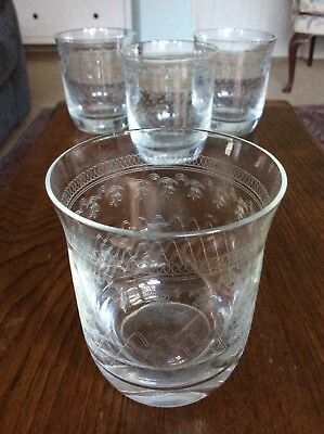 4 x Vintage Pall Mall Lady Hamilton Etched Crystal Glass Whisky Tumblers