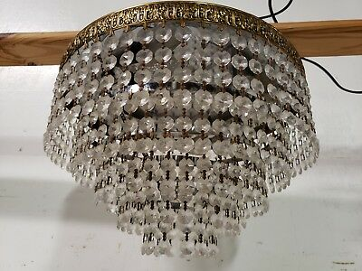 Crystal Chandelier 5 Tier Wedding Cake Flush Ceiling Mount Waterfall Fixture VTG