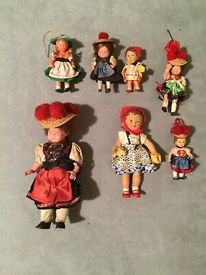 Collection of 7 vintage german Black Forest dolls (Schwarzwaldpuppen)