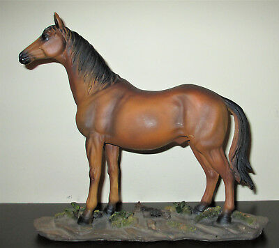 Resin Horse Figurine Standing on Rocky Base 12x9