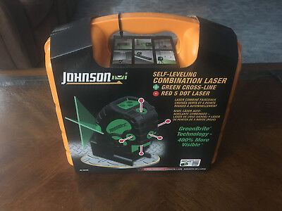 Johnson Self-Leveling Combination Laser — Five red dots, one green cross laser