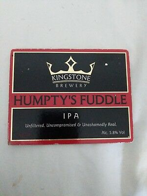 beer pump clip badge -. Kingstone Brewery Humpty's Fuddle India Pale Ale