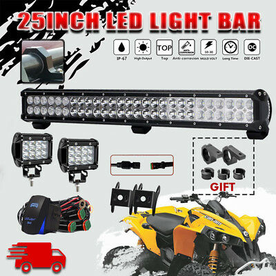 25INCH162W CREE LED Work Light Bar Spot Flood Combo Offroad for Can-Am Renegade