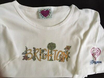 Womens Authentic BRIGHTON YOUR HEART T Shirt Large-XL Embroidered Jewelry