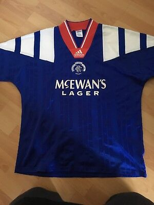 Vintage 1992-1994 Glasgow Rangers Adidas Home Football Shirt Large 40-42