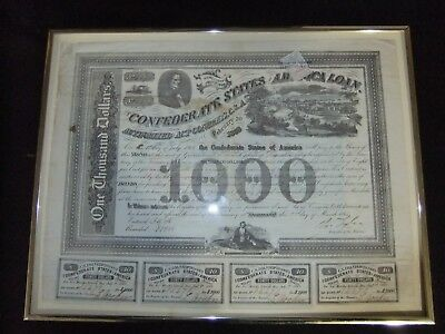 1863 Confederate Bond 1000 #2271 with Stamp Richmond 2nd day of march1963