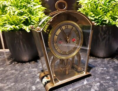 RARE 1950s ,SCHATZ Mantel Clock 8 Day JEWELED Germany Eureka Style! Mid Century
