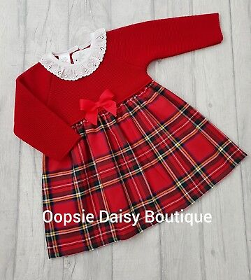 SALE Girls Spanish/Portuguese Red Tartan Frill Collar Knitted Ribbon Dress ☆