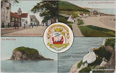 NORTH BERWICK - Vintage Postcard - Coat of Arms - Quality St , Canty Bay etc