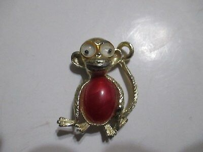 Vintage Google Eyed & Jelly Belly Monkey Rare Unsigned Pin/brooch