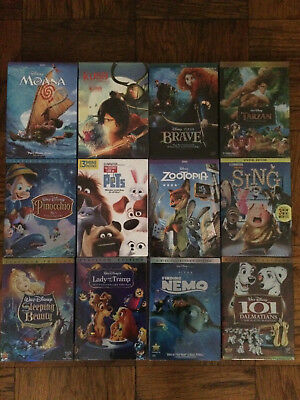 Pick 3 out of 12 Disney DVD 101 Dalmatians, Moana, Brave, Sing, Zootopia etc.