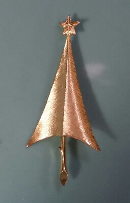 Vintage signed GIOVANNI Modernist Brushed Gold Tone CHRISTMAS TREE PIN