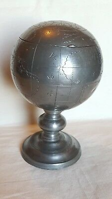 Antique Vintage Swato? Chinese Pewter Terrestrial Globe Tobacco Caddy Jar