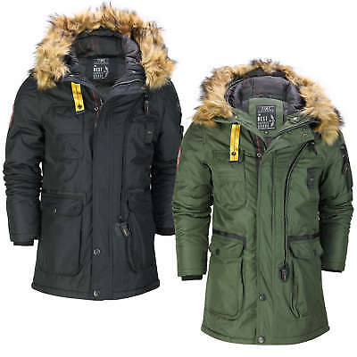 affdee3c530d Mens Padded Heavy Weight Warm Winter Jacket Classic Parka Coat Fur Trim  Hooded
