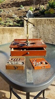Vintage gold scale Balance refurbish or parts  two incomplete sets weights