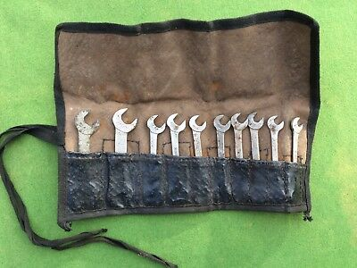 Vintage 10 King Dick Ba Spanner Set And Roll