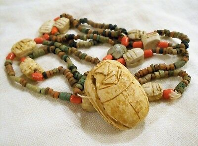 Antique Egyptian CARVED SCARAB Necklace Tiny Clay Beads EGYPT Souvenir Beads