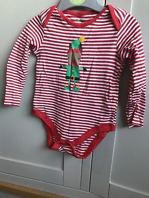 F&F  Baby Christmas Bodysuit Long  Sleeve  Red Striped Elf Rudolph 12-18 Months