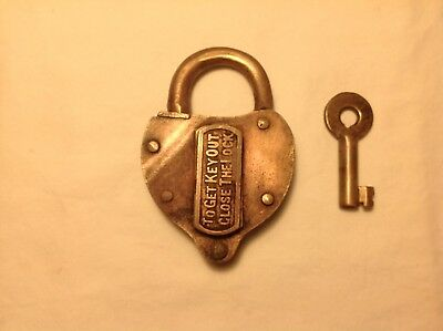 Large-Vintage-Solid Brass Padlock Lock With Key-To Get Key Out-Close The Lock