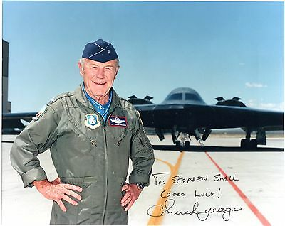 Famed pilot CHUCK YEAGER 1st to Break Sound Barrier. Signed 10x8 col photo