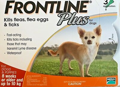 Frontline Plus 3 Pack / 3 Months Supply For Dogs 0-22lbs 0-10KG Orange