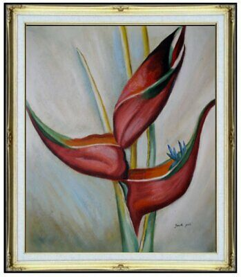 Framed Hand Painted Oil Painting, Still Life with Birds of Paradise, 20x24in