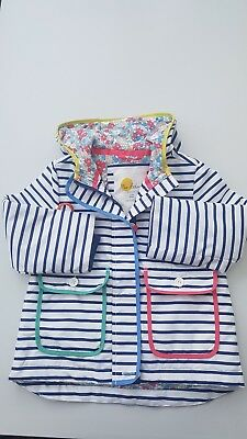 Girls 3-4 Years BODEN winter coat jacket hooded colourful pockets navy white