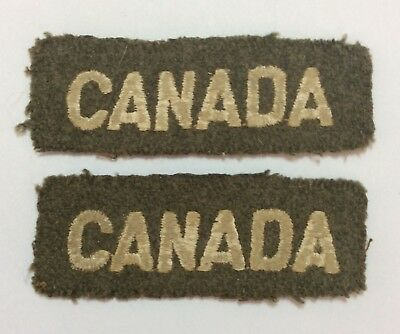 "Pair Of Original Ww2 Canada Shoulders Patch Title Khaki ""Canada"" Army"