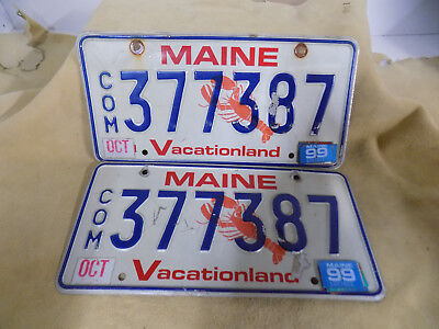 1999  Maine Commerical License Plate Lobster Plate Pair 377387