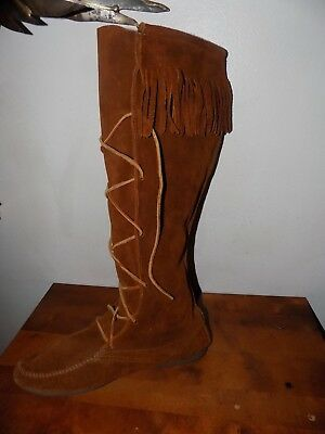 "Minnetonka Suede Fringe 18"" TALL BROWN SUEDE LEATHER USA MADE MODEL 1922 SZ 11"