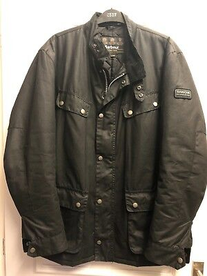 Mens Barbour International Duke Wax Jacket. Black - Size XL Large Great Cond.