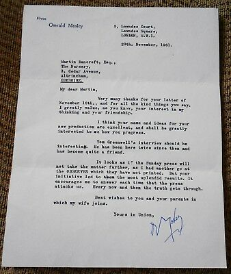 Sir Oswald Mosley Hand Signed Letter From British Fascists Leader Adolf Hitler