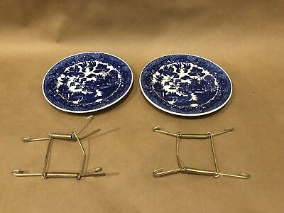 """Vintage Lot Of 2 Japanese Blue Willow 6"""" Plates 1920s-1950s W/ Spring Hanger"""