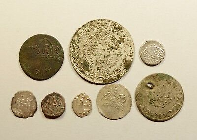 Lot Of 8 Ancient Bronze & Silver / Silver Plated Ottoman Islamic Turkey Coins