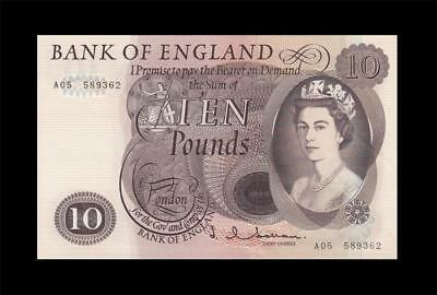 "1963-66 BANK OF ENGLAND QEII 10 POUNDS **Hollom** ""A"" (( GEM UNC ))"