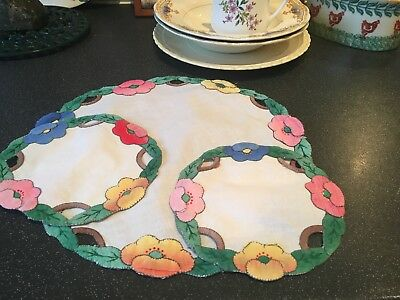 Pretty Set of 3 Vintage Hand Embroidered Applique Linen Doilies